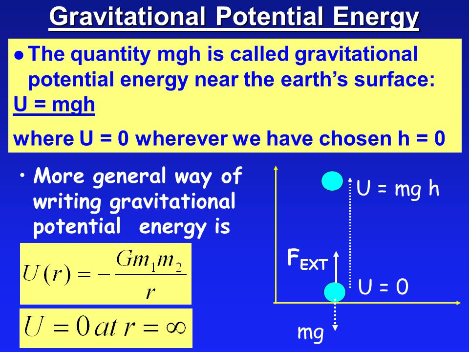 Gravitational Potential Energy l The quantity mgh is called gravitational potential energy near the earth's surface: U = mgh where U = 0 wherever we have chosen h = 0 More general way of writing gravitational potential energy is mg U = 0 U = mg h F EXT