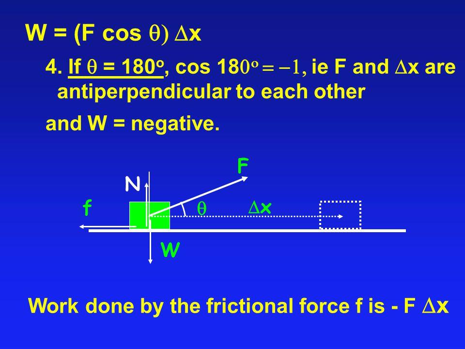 W = (F cos  x 4.
