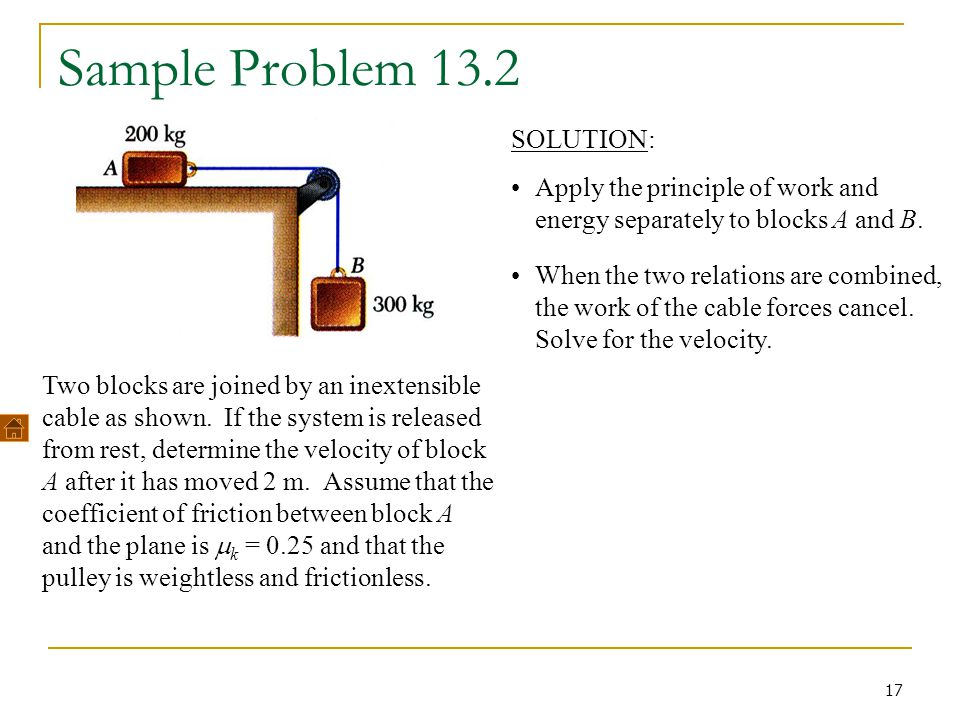 17 Sample Problem 13.2 Two blocks are joined by an inextensible cable as shown. If the system is released from rest, determine the velocity of block A