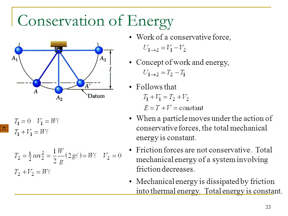 33 Conservation of Energy Work of a conservative force, Concept of work and energy, Follows that When a particle moves under the action of conservativ