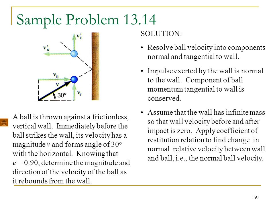 59 Sample Problem 13.14 A ball is thrown against a frictionless, vertical wall. Immediately before the ball strikes the wall, its velocity has a magni