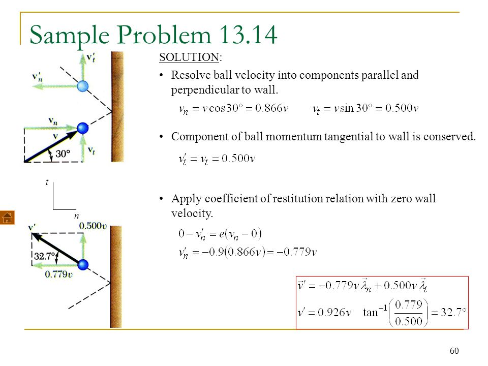 60 Sample Problem 13.14 Component of ball momentum tangential to wall is conserved. Apply coefficient of restitution relation with zero wall velocity.