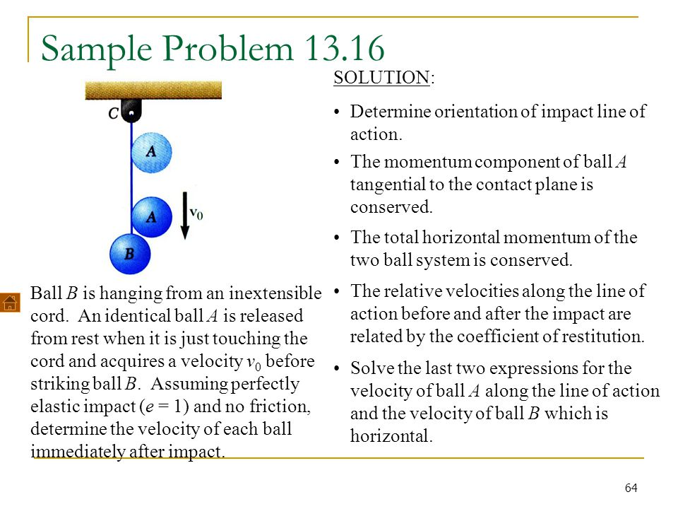 64 Sample Problem 13.16 Ball B is hanging from an inextensible cord. An identical ball A is released from rest when it is just touching the cord and a