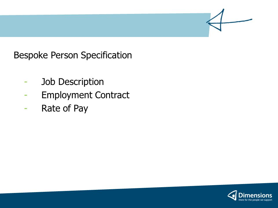 Bespoke Person Specification - Job Description -Employment Contract -Rate of Pay