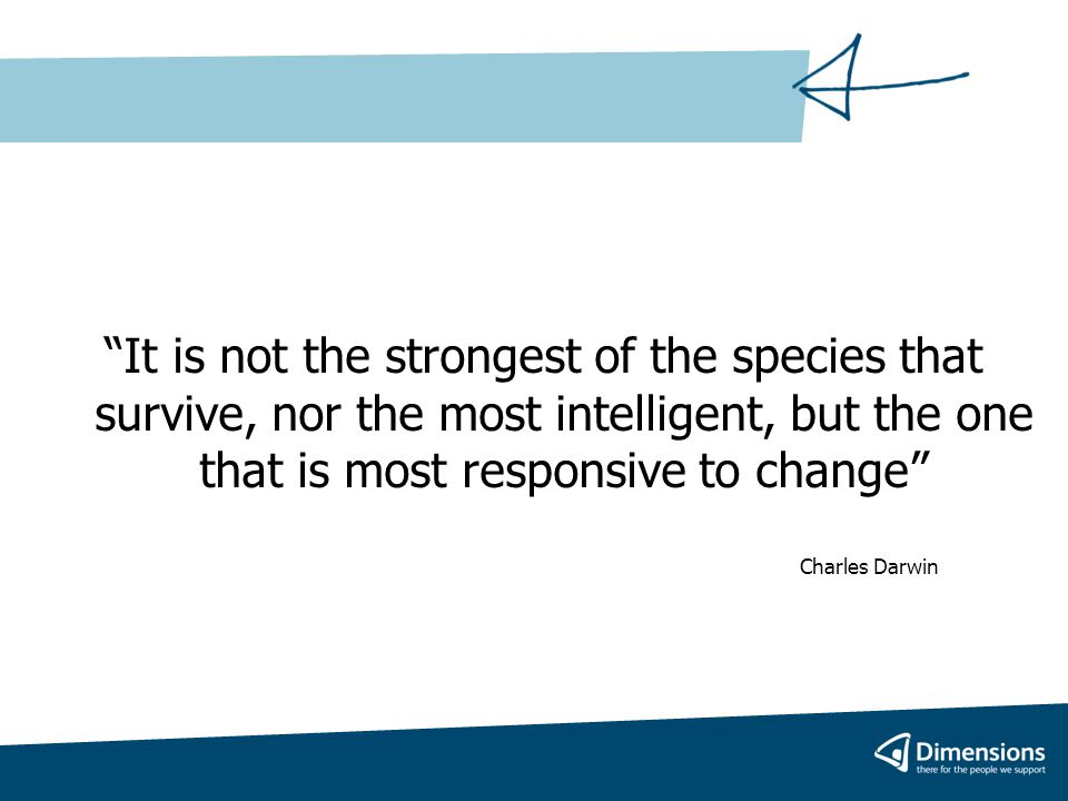 It is not the strongest of the species that survive, nor the most intelligent, but the one that is most responsive to change Charles Darwin