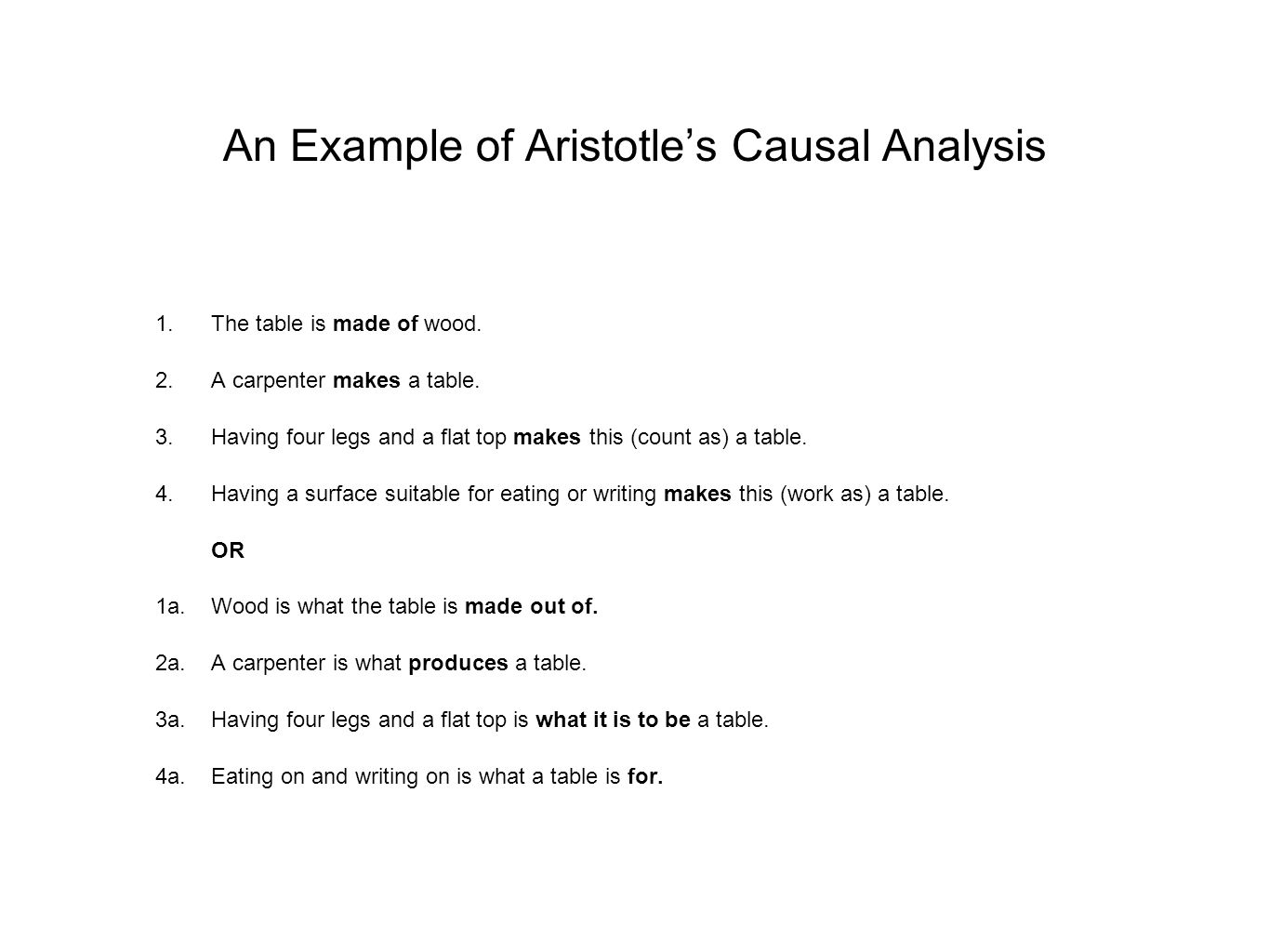 An Example of Aristotle's Causal Analysis 1.The table is made of wood. 2.A carpenter makes a table. 3.Having four legs and a flat top makes this (coun
