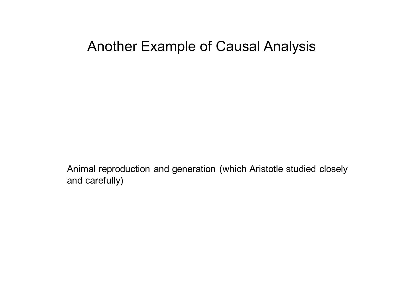 Another Example of Causal Analysis Animal reproduction and generation (which Aristotle studied closely and carefully)