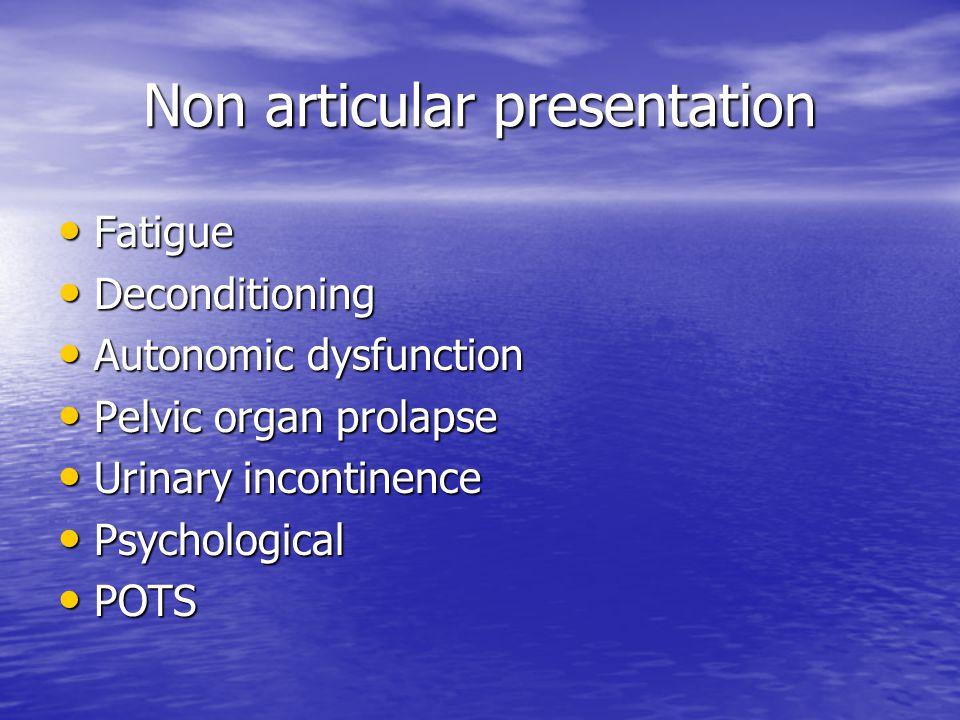 Non articular presentation Fatigue Fatigue Deconditioning Deconditioning Autonomic dysfunction Autonomic dysfunction Pelvic organ prolapse Pelvic orga