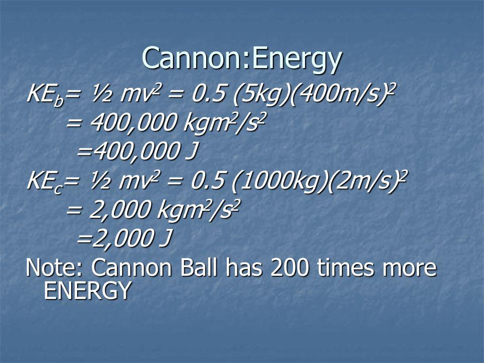 Cannon:Energy KE b = ½ mv 2 = 0.5 (5kg)(400m/s) 2 = 400,000 kgm 2 /s 2 = 400,000 kgm 2 /s 2 =400,000 J KE c = ½ mv 2 = 0.5 (1000kg)(2m/s) 2 = 2,000 kg