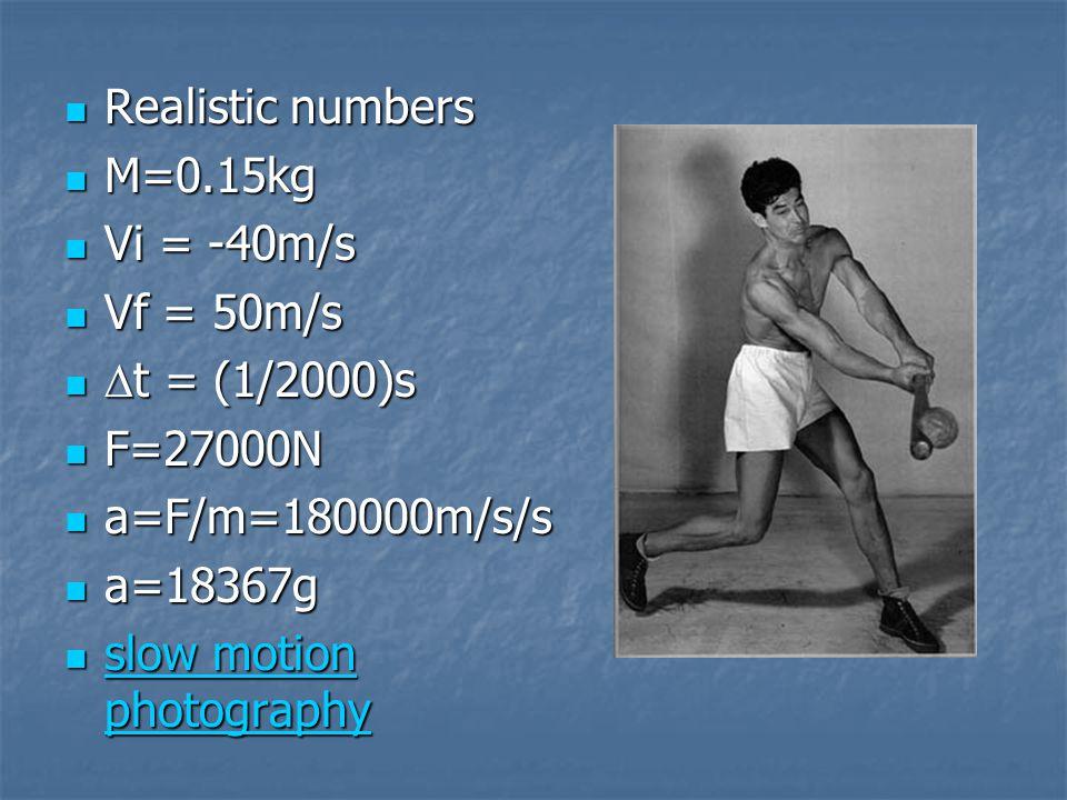 Realistic numbers Realistic numbers M=0.15kg M=0.15kg Vi = -40m/s Vi = -40m/s Vf = 50m/s Vf = 50m/s  t = (1/2000)s  t = (1/2000)s F=27000N F=27000N a=F/m=180000m/s/s a=F/m=180000m/s/s a=18367g a=18367g slow motion photography slow motion photography slow motion photography slow motion photography