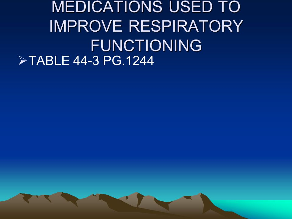 MEDICATIONS USED TO IMPROVE RESPIRATORY FUNCTIONING  TABLE 44-3 PG.1244