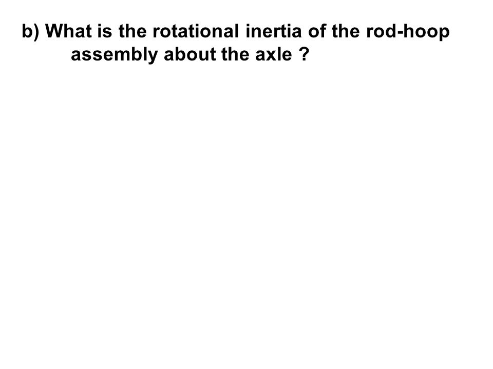 b) What is the rotational inertia of the rod-hoop assembly about the axle ?