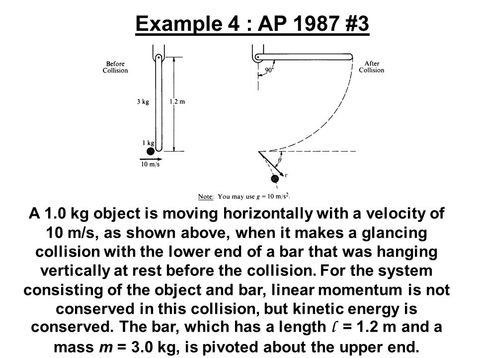 A 1.0 kg object is moving horizontally with a velocity of 10 m/s, as shown above, when it makes a glancing collision with the lower end of a bar that