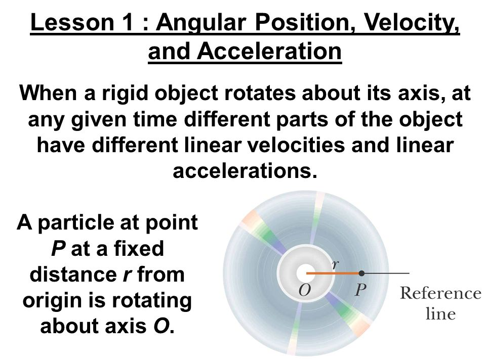 A particle at point P at a fixed distance r from origin is rotating about axis O. Lesson 1 : Angular Position, Velocity, and Acceleration When a rigid