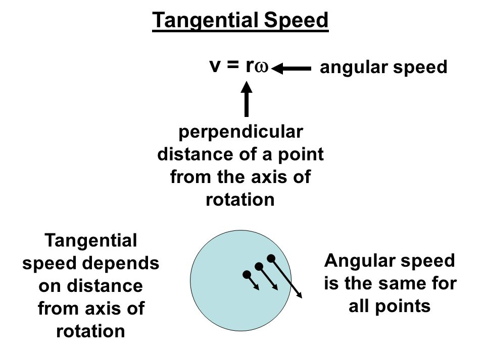 Tangential Speed perpendicular distance of a point from the axis of rotation angular speed Tangential speed depends on distance from axis of rotation