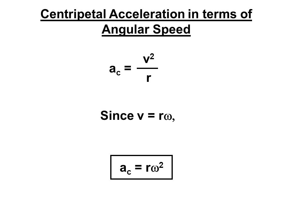 Centripetal Acceleration in terms of Angular Speed a c = v2v2 r Since v = r  a c = r  2