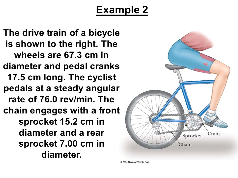 The drive train of a bicycle is shown to the right. The wheels are 67.3 cm in diameter and pedal cranks 17.5 cm long. The cyclist pedals at a steady a