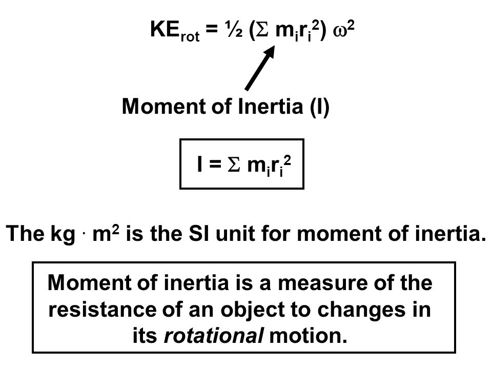 Moment of Inertia (I) I =  m i r i 2 The kg. m 2 is the SI unit for moment of inertia. Moment of inertia is a measure of the resistance of an object
