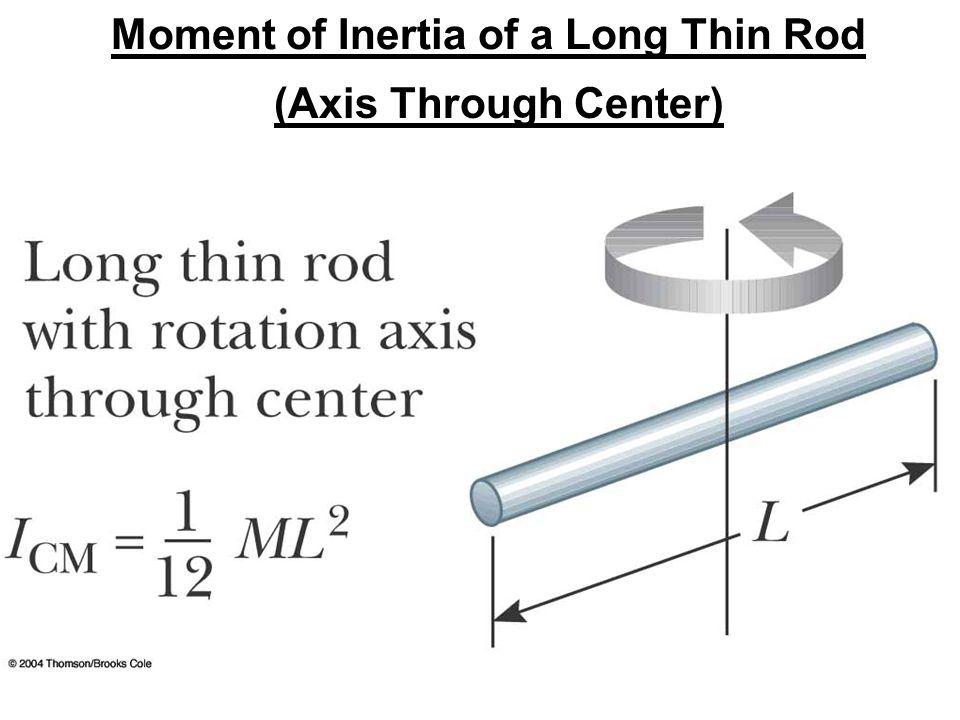 Moment of Inertia of a Long Thin Rod (Axis Through Center)