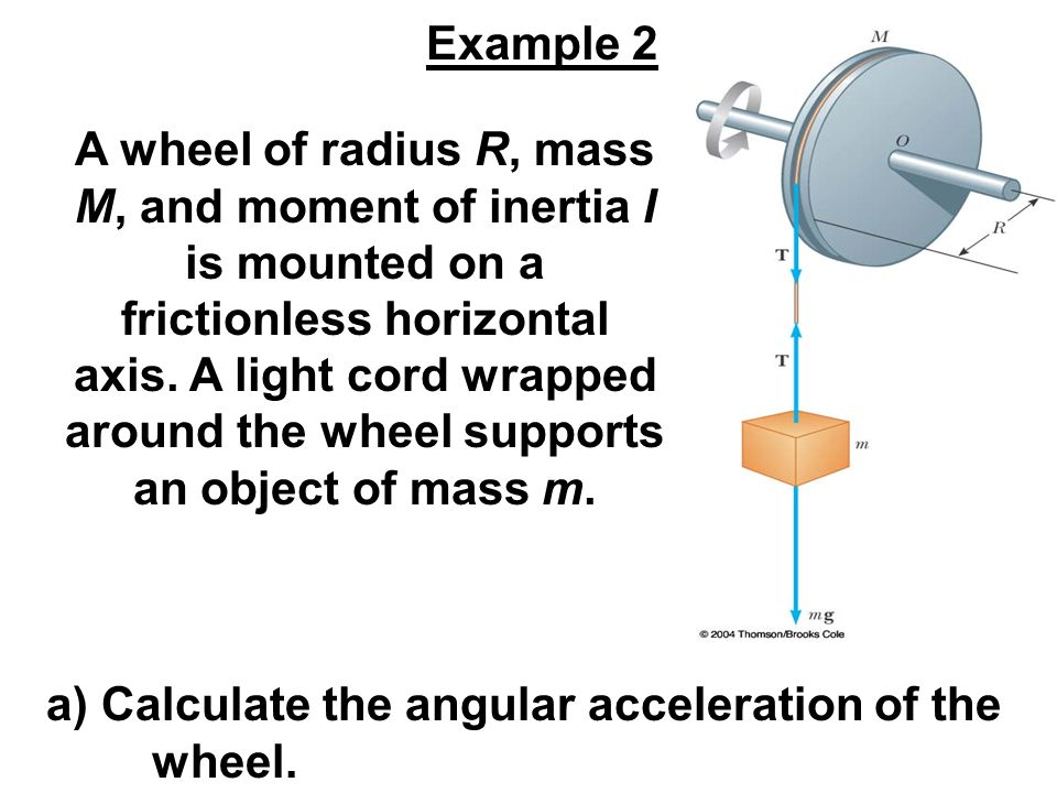 A wheel of radius R, mass M, and moment of inertia I is mounted on a frictionless horizontal axis. A light cord wrapped around the wheel supports an o