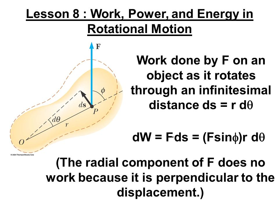 Work done by F on an object as it rotates through an infinitesimal distance ds = r d  Lesson 8 : Work, Power, and Energy in Rotational Motion dW = F.