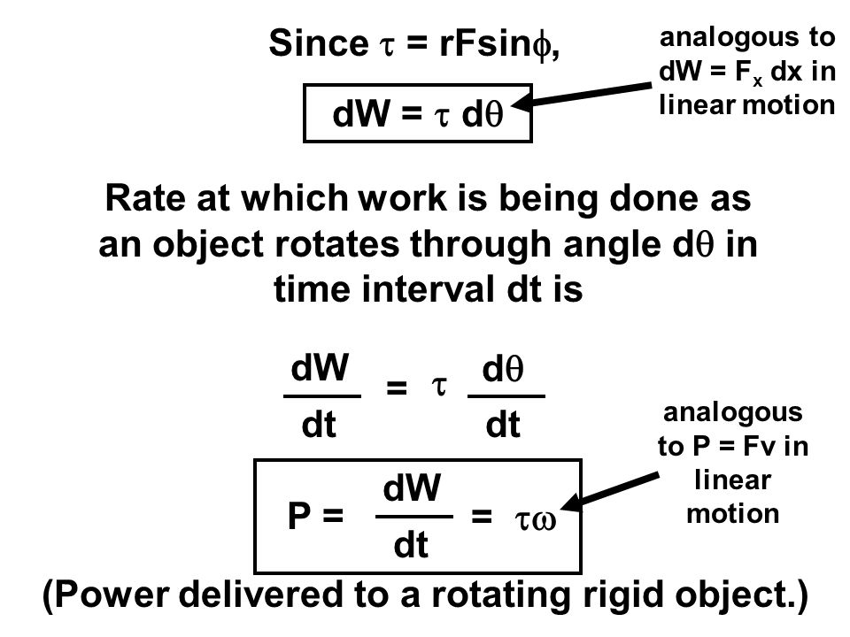 Since  = rFsin , Rate at which work is being done as an object rotates through angle d  in time interval dt is dW dt = dd  dW =  d  (Power del