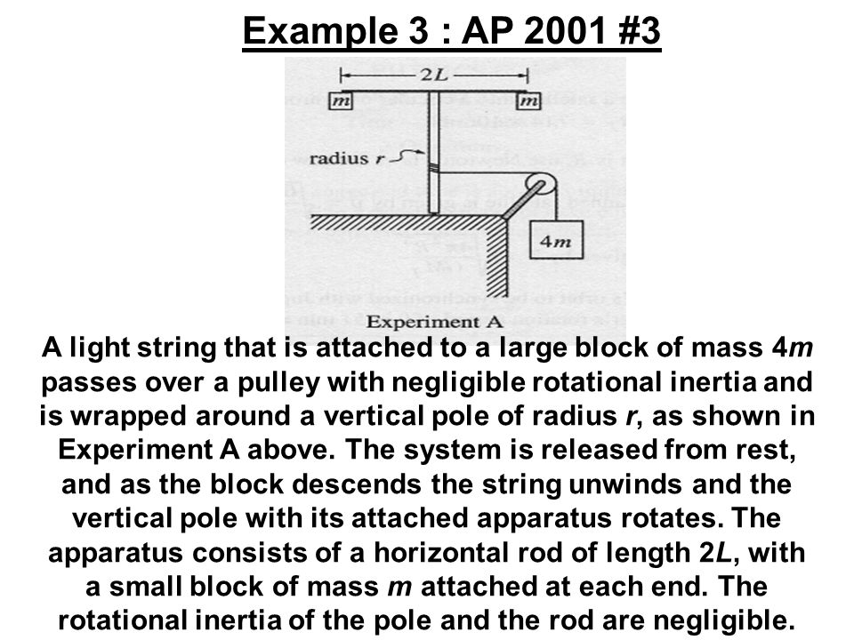 A light string that is attached to a large block of mass 4m passes over a pulley with negligible rotational inertia and is wrapped around a vertical p
