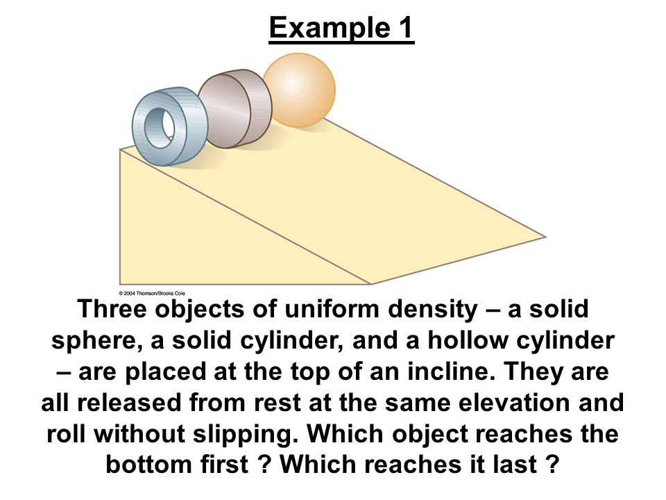 Three objects of uniform density – a solid sphere, a solid cylinder, and a hollow cylinder – are placed at the top of an incline. They are all release
