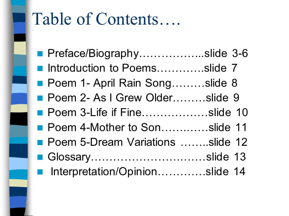 Table of Contents….