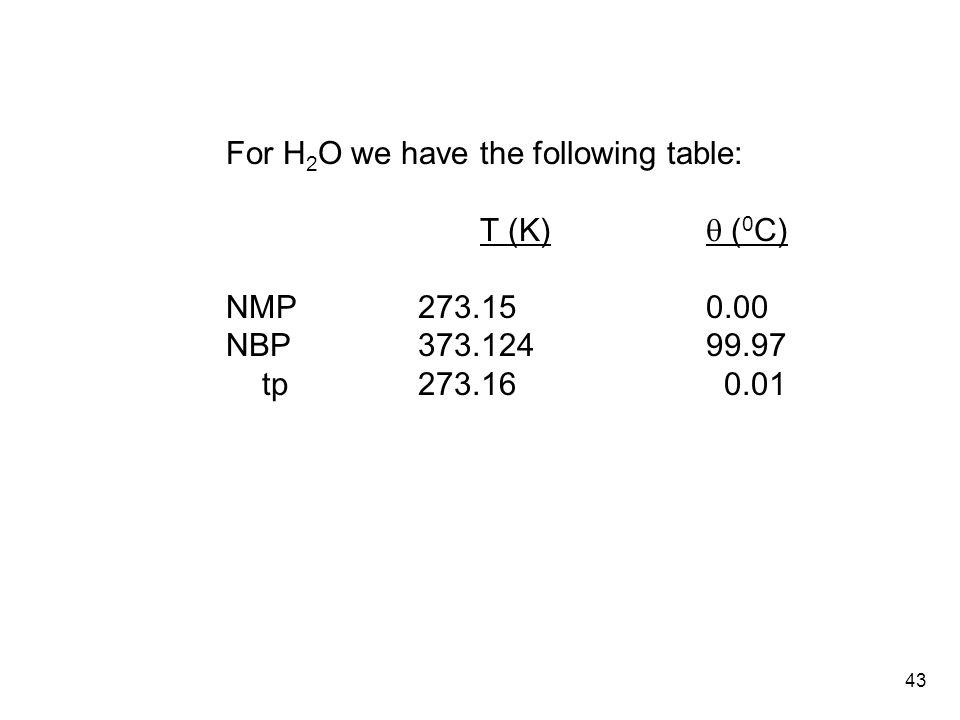 43 For H 2 O we have the following table: T (K)  ( 0 C) NMP273.150.00 NBP373.12499.97 tp273.16 0.01
