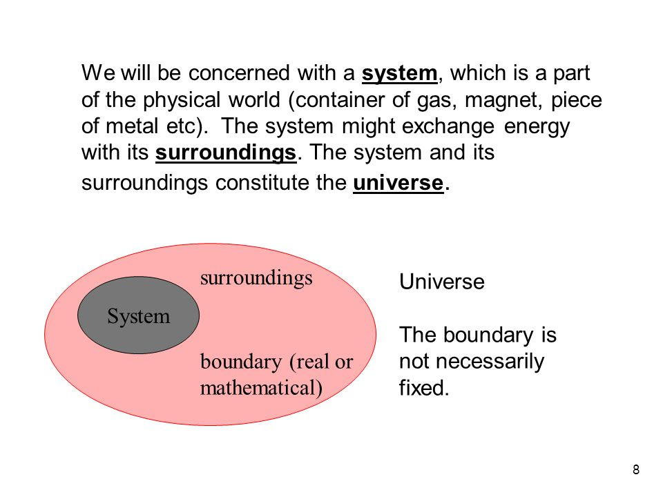 8 We will be concerned with a system, which is a part of the physical world (container of gas, magnet, piece of metal etc).