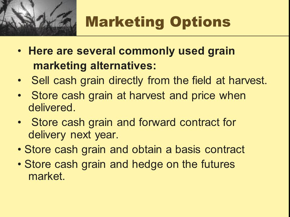 Marketing Options Sell cash grain at harvest and buy back on the futures market.