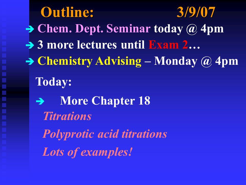 Outline:3/9/07 è Chem. Dept.