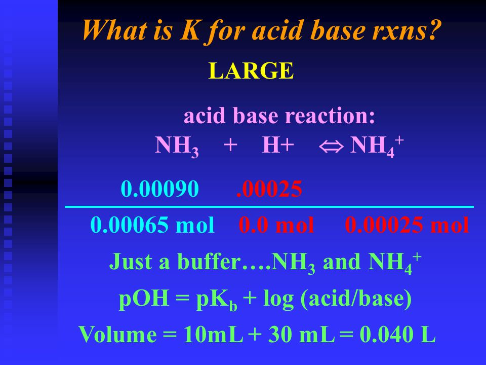 What is K for acid base rxns.