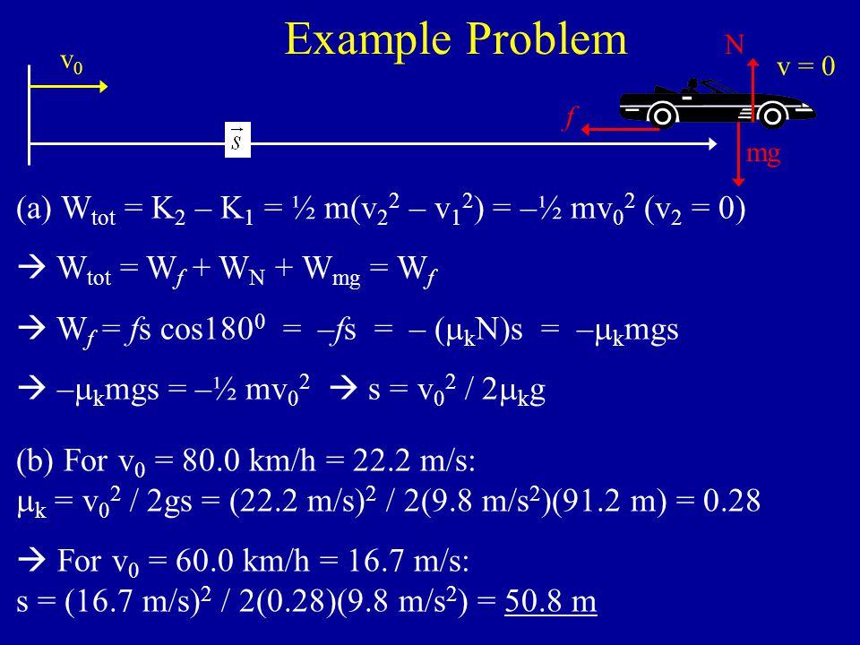 Example Problem #6.23 (continued)  W tot = W f + W F  W f = fs cos180 0 = –fs = – (  k N)s = –  k mgs = –(0.30)(4.30 kg)(9.8 m/s 2 )(1.20 m) = –15.17 J  W tot = –15.17 J + 43.2 J = 28.03 J  v 2 = [2(28.03 J) / 4.30 kg] 1/2 = 3.61 m/s