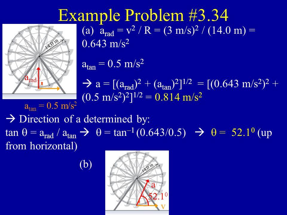 Example Problem #3.12 v 0x = v 0. v 0y = 0. x = x 0 + v 0x t.