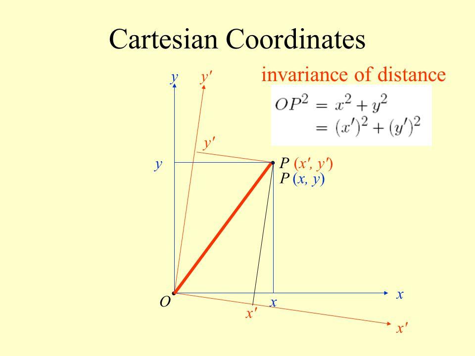 Cartesian Coordinates P O x'x' y'y' (x', y') x'x' y'y' y x y x invariance of distance (x, y)P
