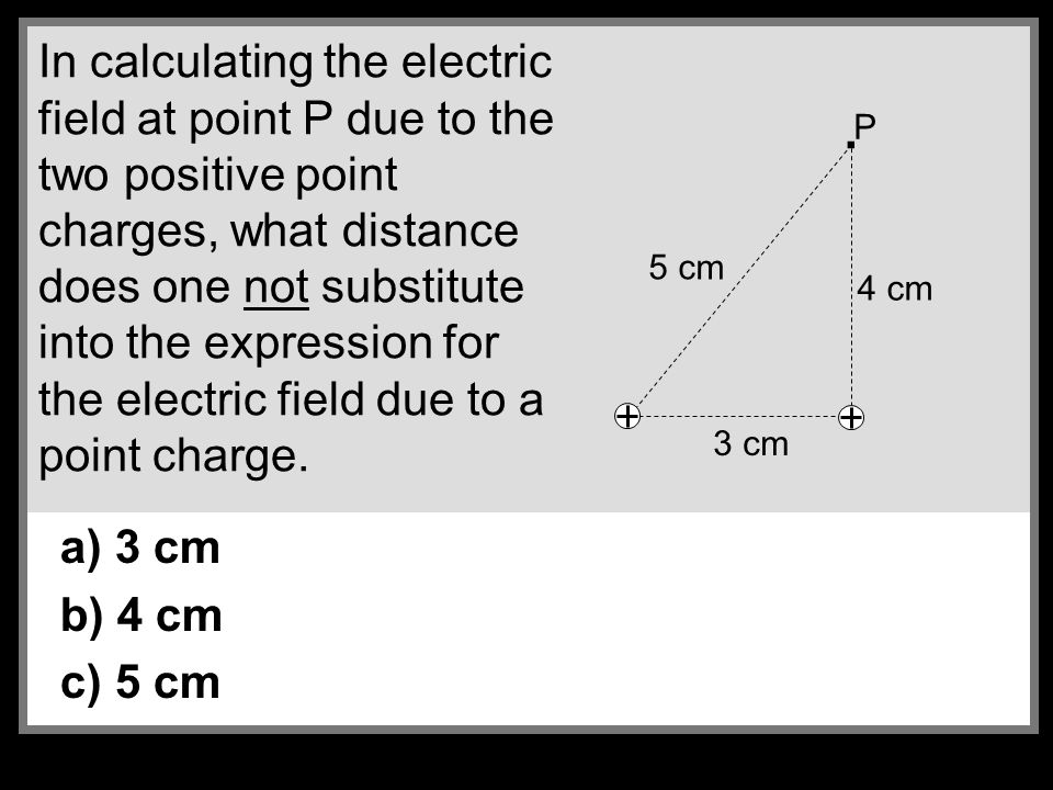 In calculating the electric field at point P due to the two positive point charges, what distance does one not substitute into the expression for the electric field due to a point charge.