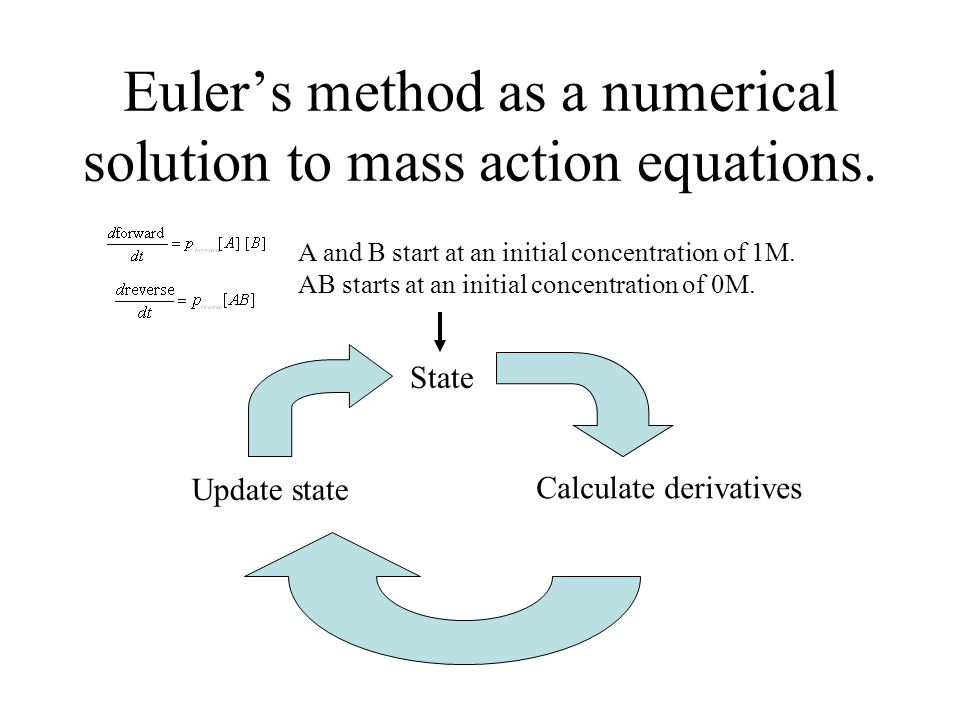 Euler's method as a numerical solution to mass action equations.