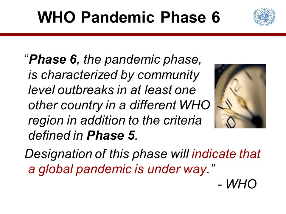 Phase 6, the pandemic phase, is characterized by community level outbreaks in at least one other country in a different WHO region in addition to the criteria defined in Phase 5.