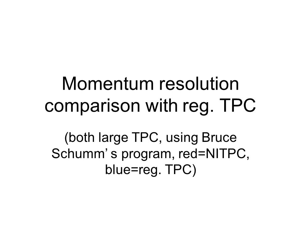Momentum resolution comparison with reg.