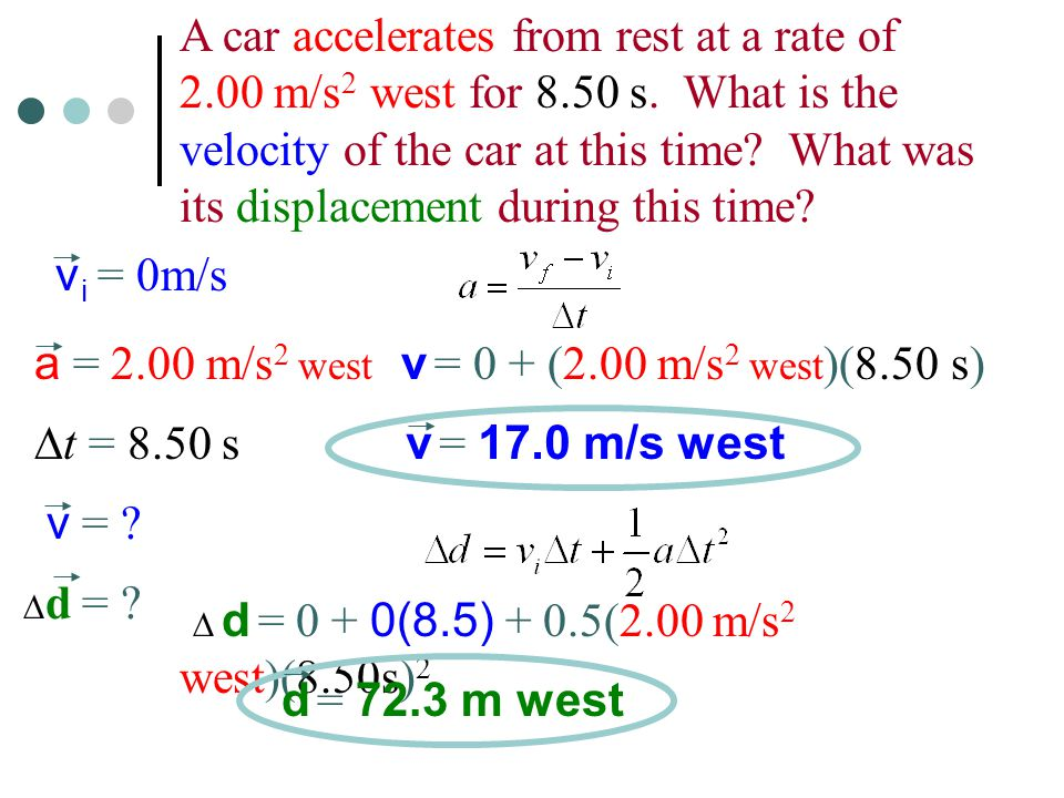 A car accelerates from rest at a rate of 2.00 m/s 2 west for 8.50 s.
