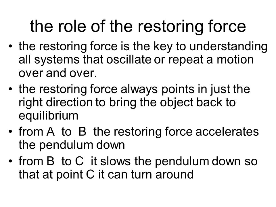 """The """"restoring"""" force To start the pendulum, you displace it from point B to point A and let it go! point B is the equilibrium position of the pendulu"""