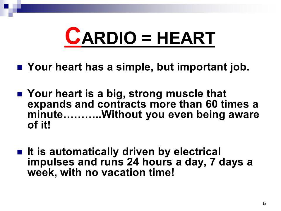 5 C ARDIO = HEART Your heart has a simple, but important job.