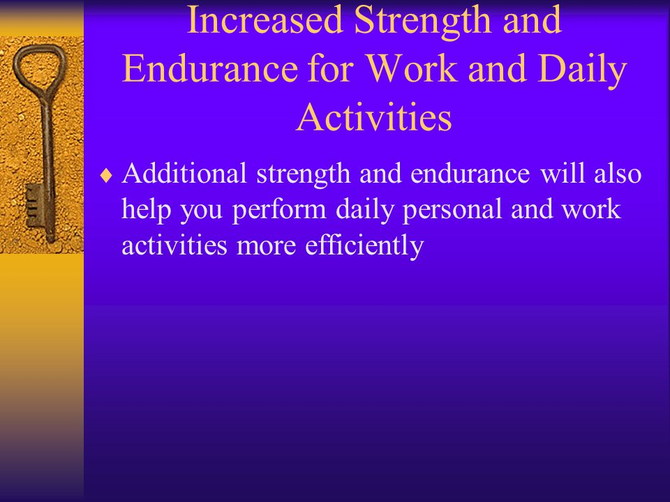 Application of the Principle of Specifity  To gain strength and endurance in a particular muscle, muscle group, or movement, you must specifically train the muscle or muscles in a similar movement.