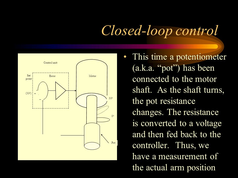 "Closed-loop control This time a potentiometer (a.k.a. ""pot"") has been connected to the motor shaft. As the shaft turns, the pot resistance changes. Th"