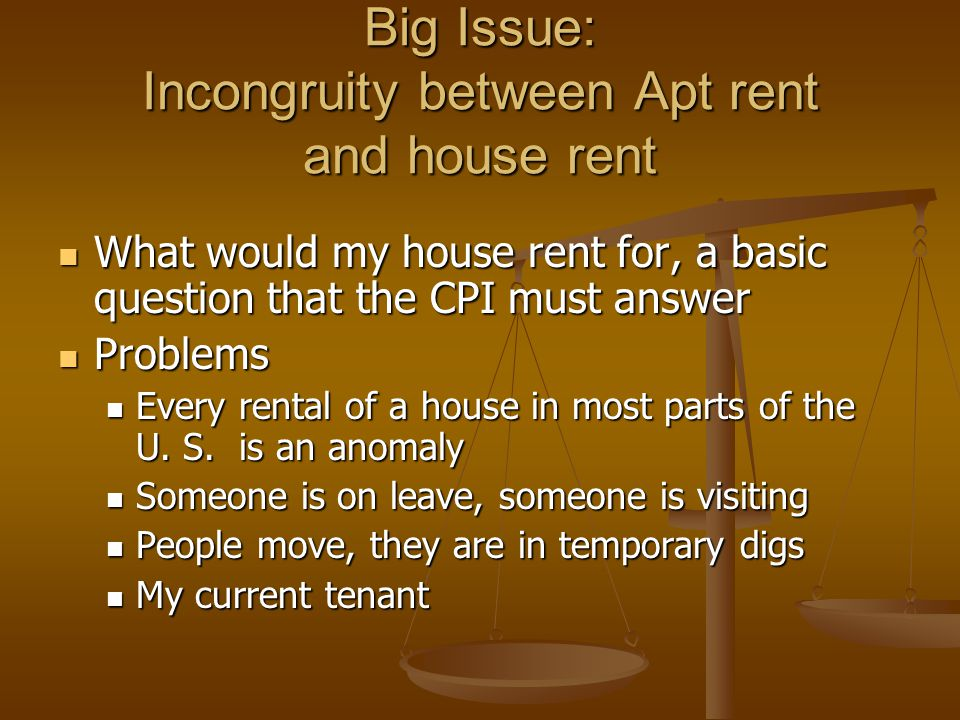 Big Issue: Incongruity between Apt rent and house rent What would my house rent for, a basic question that the CPI must answer What would my house rent for, a basic question that the CPI must answer Problems Problems Every rental of a house in most parts of the U.