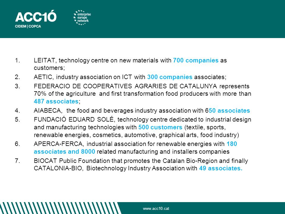 1. LEITAT, technology centre on new materials with 700 companies as customers; 2.