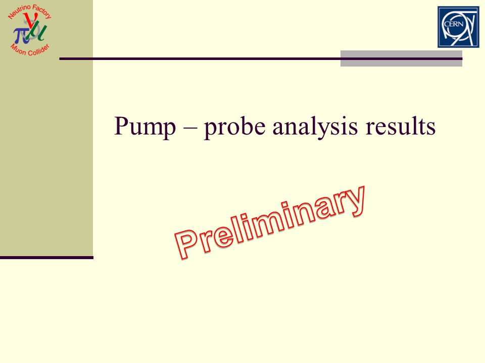 Pump – probe analysis results