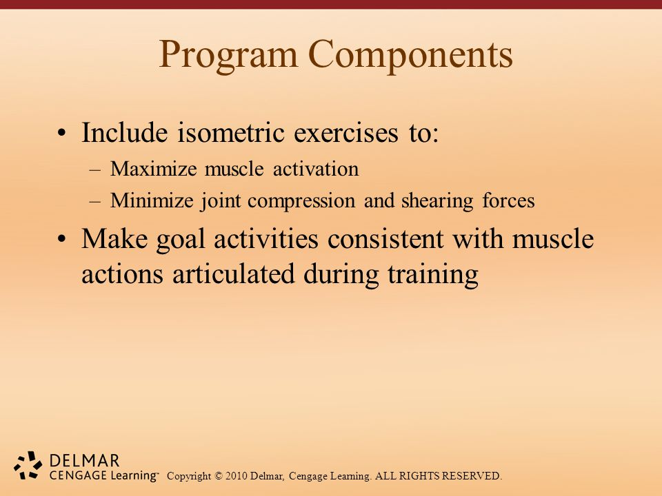 Copyright © 2010 Delmar, Cengage Learning. ALL RIGHTS RESERVED. Program Components Include isometric exercises to: –Maximize muscle activation –Minimi